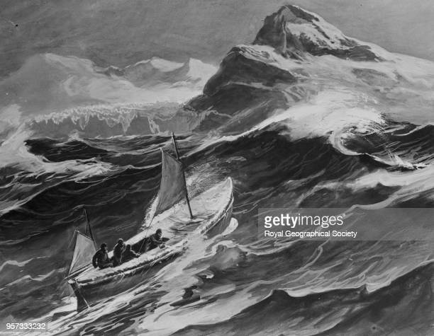 The 'James Caird' nearing South Georgia From a drawing by one of the boat party George Marston Imperial TransAntarctic Expedition 19141916
