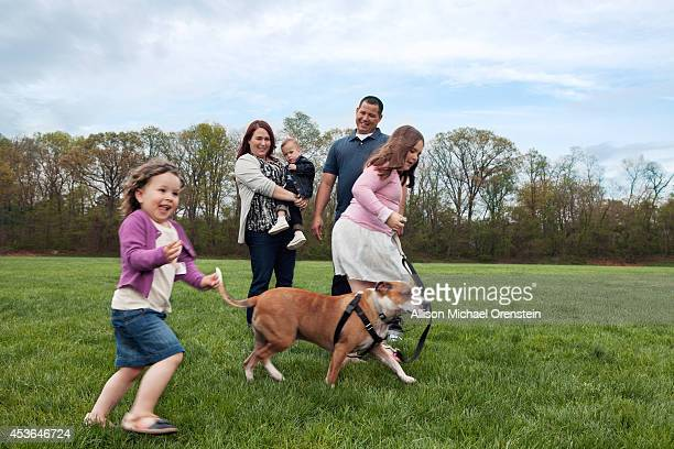 The James family are photographed for People Magazine with dog Reckless on May 26 2014 in Keansburg New Jersey PUBLISHED IMAGE
