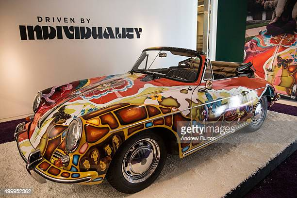 The Janis Joplin 1964 Porsche 356 C 1600 SC Cabriolet sits on display at Sotheby's during a press preview before the Driven by Disruption auction on...