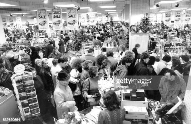 The January sales have come early shoppers on Boxing Day in Lewis's store on Argyle Street Glasgow 26th December 1985