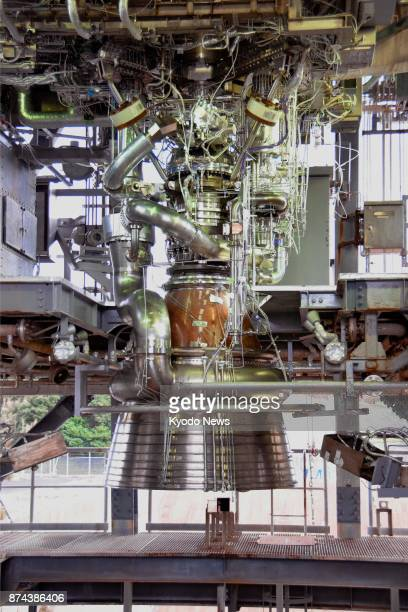 The Japan Aerospace Exploration Agency unveils a new engine the model LE9 for its nextgeneration H3 rocket at the Tanegashima Space Center in...