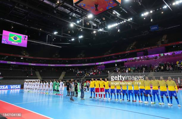 The Japan and Brazil team line up prior to the FIFA Futsal World Cup 2021 Round of 16 match between Brazil and Japan at Kaunas Arena on September 23,...