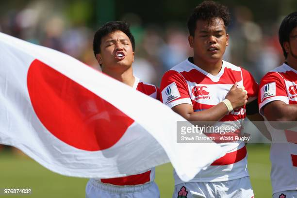 The Japan captain Hisanobu Okayama sings the national anthem prior to the World Rugby Under 20 Championship 11th Place playoff match between Ireland...