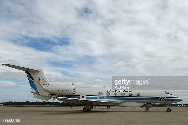 The Japan Coast Guard Gulfstream V aircraft is seen parked on the apron prior to a search mission for debris from Malaysia Airlines flight MH370 at...
