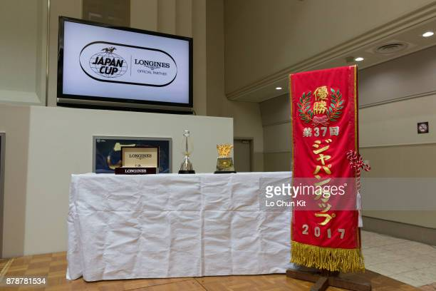 The Japan Cup trophy and souvenirs displayed at Tokyo Racecourse on November 23, 2017 in Fuchu, Tokyo, Japan.