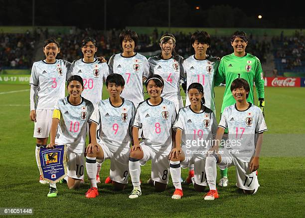 The Japan first eleven during the FIFA U17 Women's World Cup Jordan 2016 Final match between Korea DPR and Japan at Amman International Stadium on...