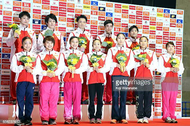 The Japan Gymnasticsteam for the Rio Olympic Games during the AllJapan Gymnastic Appratus Championships at Yoyogi National Gymnasium on June 5 2016...