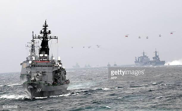 The Japan Maritime Self-Defence Force escort ship Kurama sails during a 2009 fleet review in Sagami Bay, Japan's Kanagawa prefecture on October 25,...