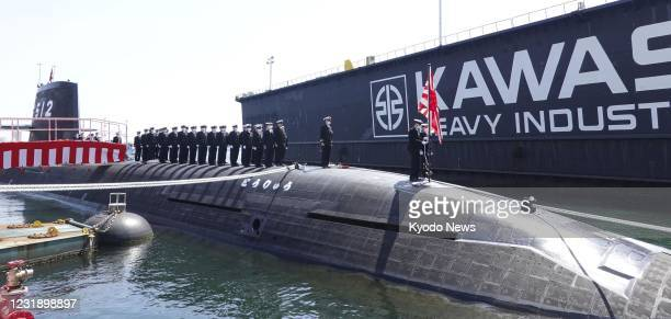 The Japan Maritime Self-Defense Force's lithium ion battery-powered new submarine Toryu is pictured at Kawasaki Heavy Industries Ltd.'s Kobe plant in...