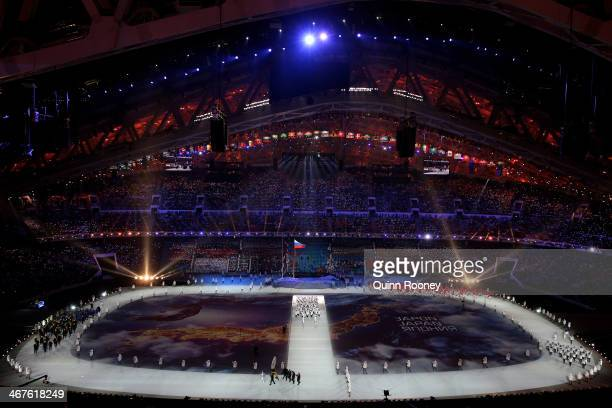 The Japan Olympic team enters the stadium during the Opening Ceremony of the Sochi 2014 Winter Olympics at Fisht Olympic Stadium on February 7 2014...