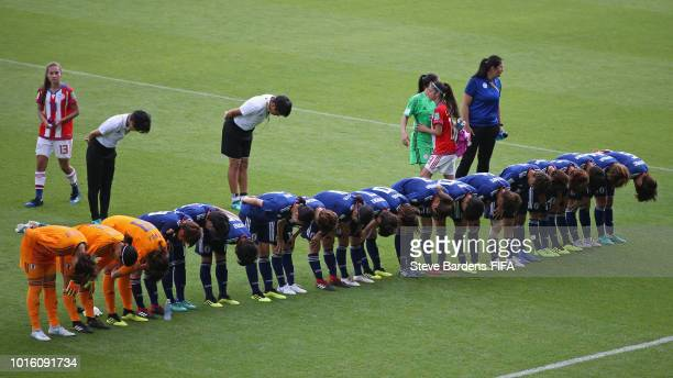 The Japan players bow to the crowd after the FIFA U20 Women's World Cup France 2018 group C match between Japan and Paraguay at Stade de la Rabine on...