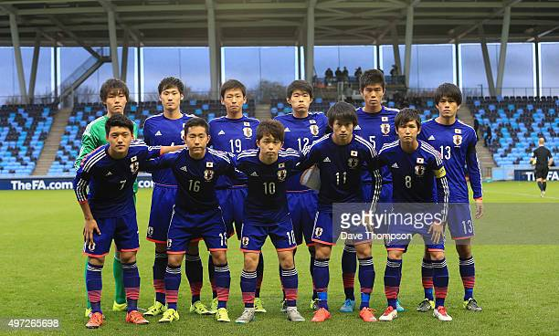 The Japan side line up prior to the U19 International friendly match between England and Japan at Manchester City Academy Stadium on November 15 2015...
