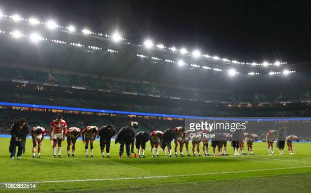The Japan team acknowledge the crowd after the Quilter International match between England and Japan at Twickenham Stadium on November 17 2018 in...