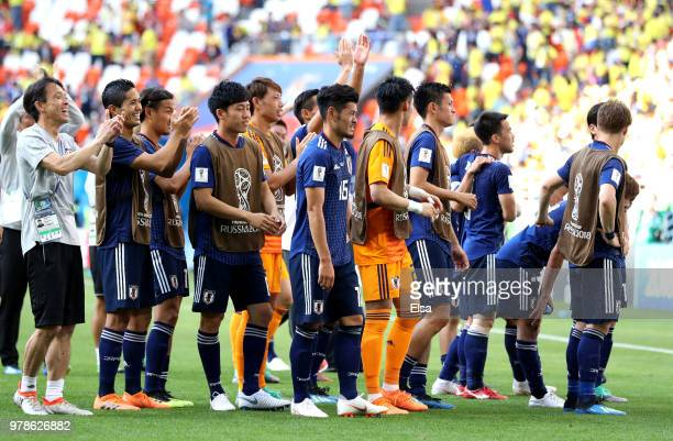 The Japan team applaud their fans following thier victory in the 2018 FIFA World Cup Russia group H match between Colombia and Japan at Mordovia...
