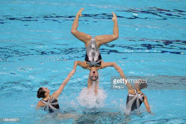 The Japan team compete in the Synchronized Swimming Free Team Routine Final during day two of the 6th FINA Synchronised Swimming World Trophy at the...