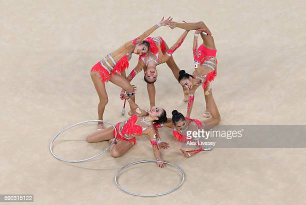 The Japan team compete in the Women's group allaround qualifying event of the Rhythmic Gymnastics at the Rio Olympic Arena during the Rio 2016...