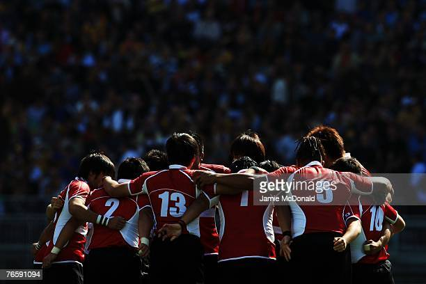 The Japan team huddle prior to match three of the Rugby World Cup 2007 between Australia and Japan at the Gerland stadium on September 8 2007 in Lyon...
