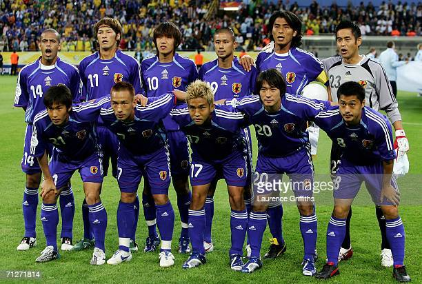 The Japan team line up before the FIFA World Cup Germany 2006 Group F match between Japan and Brazil at the Stadium Dortmund on June 22 2006 in...