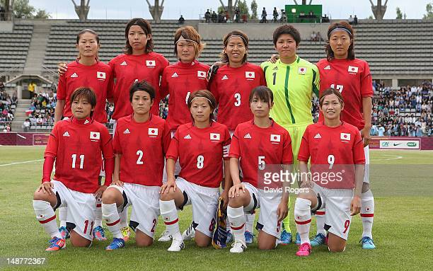 The Japan team line up during the friendly international match between Japan Women and France Women at Stade Charlety on July 19 2012 in Paris France