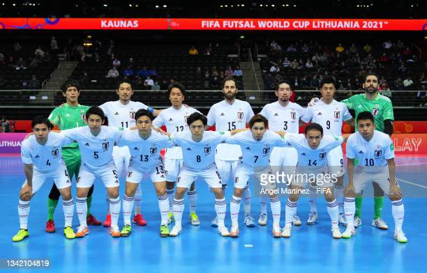 The Japan team line up prior to the FIFA Futsal World Cup 2021 Round of 16 match between Brazil and Japan at Kaunas Arena on September 23, 2021 in...