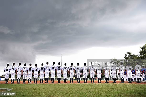 The Japan team lines up during the Asian 18U Baseball Championship preliminary game between Japan and the Philippines at Baseball Stadium of Queen...