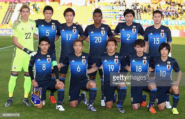 The Japan team mline up prior to the AFC U23 Championship Group B match between Saudi Arabia and Japan at Suhaim Bin Hamad Stadium on January 19 2016...