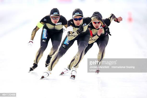 The Japan team of Nene Sakai Ayano Sato and Mizuho Takayama compete in the Women's Team Pursuit during day three of the ISU World Junior Speed...