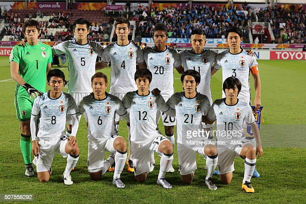 The Japan team pose for a group picture before the AFC U23 Championship final match between South Korea and Japan at the Abdullah Bin Khalifa Stadium...