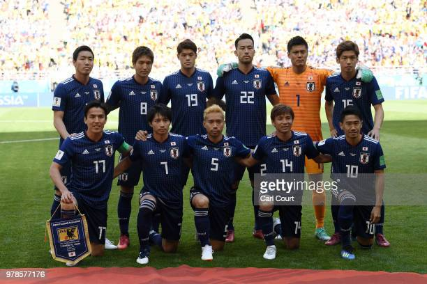 The Japan team pose for ay team photo prior to the 2018 FIFA World Cup Russia group H match between Colombia and Japan at Mordovia Arena on June 19...