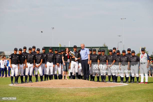 The Japan team poses with the second place trophy after they lost the Haarlem Baseball Week final match between Japan and the USA at Pim Mullier...