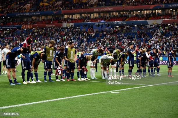 The Japan team show their appreciation to their fans following their defeat in the 2018 FIFA World Cup Russia Round of 16 match between Belgium and...