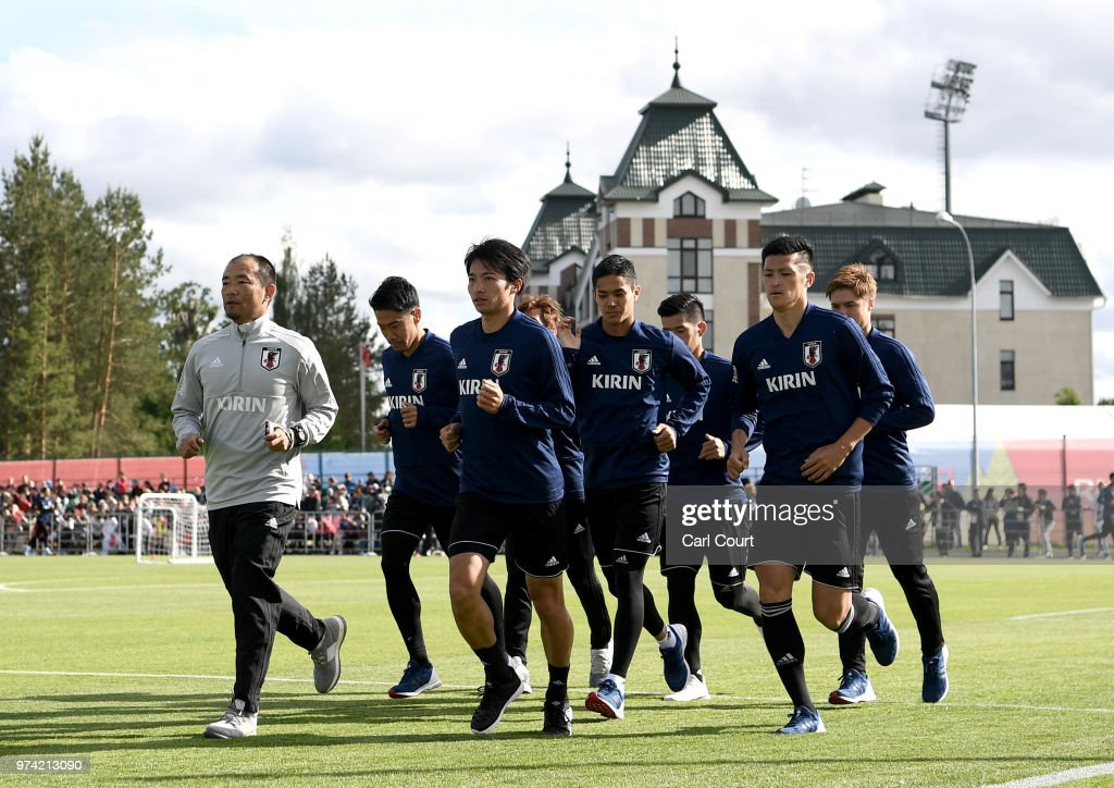 The Japan team train during a Japan training session ahead of the 2018 FIFA World Cup at FC Rubin Kazan Training Ground on June 14, 2018 in Kazan, Russia.