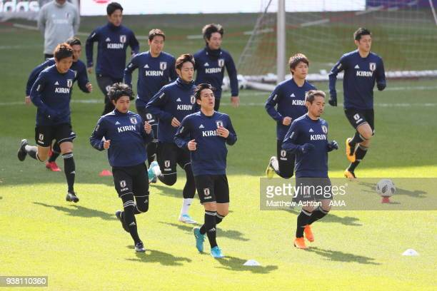 The Japan team warm up during the Japan Training Session at Stade de Sclessin on March 20 2018 in Liege Belgium