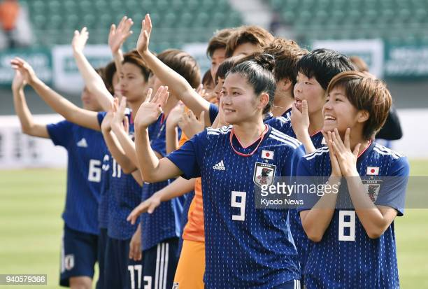 The Japan women's football team acknowledges the crowd after beating Ghana 71 in a friendly in Isahaya Nagasaki Prefecture on April 1 2018 ==Kyodo
