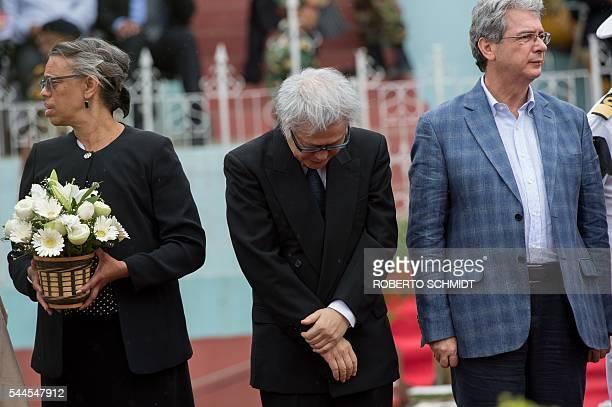 The Japanese ambassador to Bangladesh Masato Watanabe US ambassador Marcia Bernicat and Italian ambassador Mario Palma attend a memorial service for...