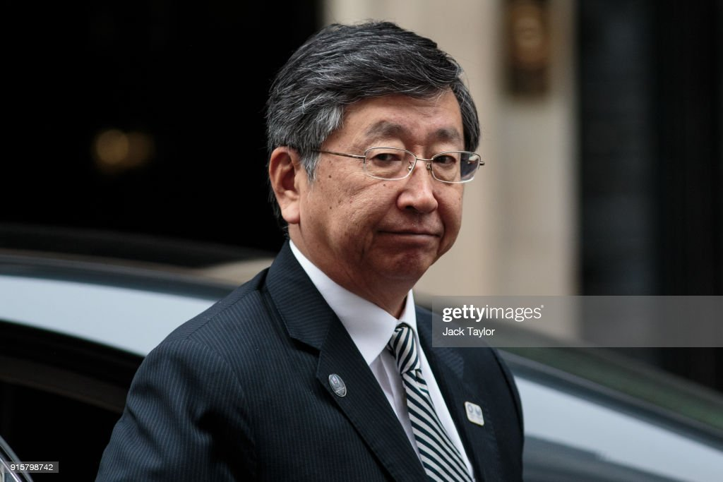 The Japanese Ambassador to the UK Koji Tsuruoka arrives at Downing Street ahead of a roundtable meeting with British Prime Minister Theresa May on February 8, 2018 in London, England. Mrs May hosts Japanese business leaders for a roundtable discussion today as the government seeks investment from other countries as Brexit negotiations continue.