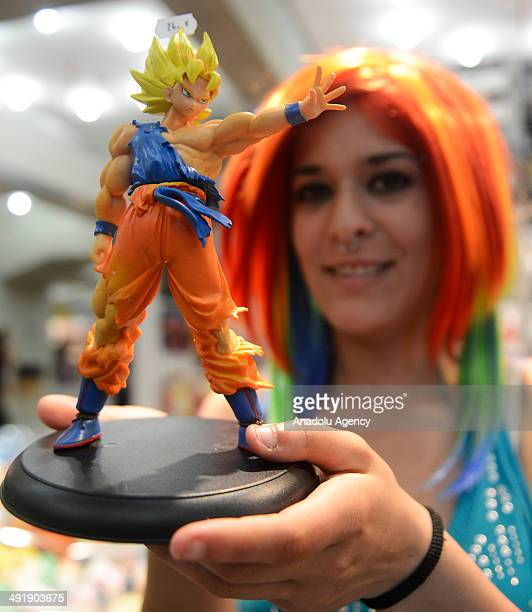 The Japanese Animation and Manga festival is held in the capital Madrid Spain on May 16 2014 Revelers in anime costumes with colorful makeup enjoy...