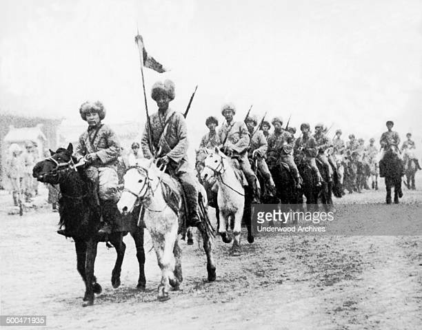 The Japanese cavalry under the command of the former Chinese General Chang Hai-Peng, Manchuria, China, 1931. They are dressed for the cold weather of...