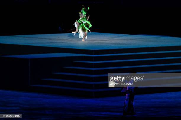 The Japanese dancer Aoi Yamada performs during the closing ceremony of the Tokyo 2020 Olympic Games, at the Olympic Stadium, in Tokyo, on August 8,...