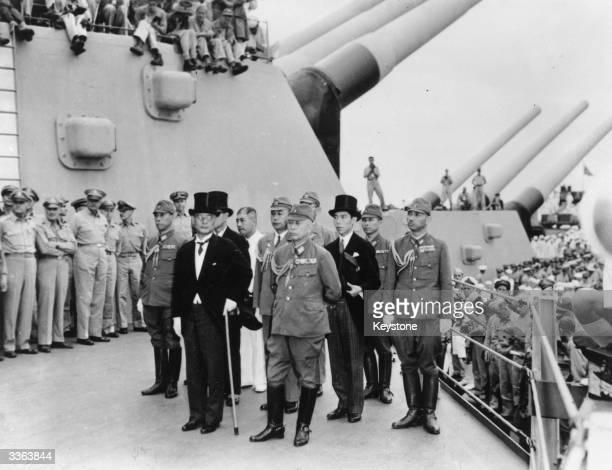 The Japanese delegation lead by Mamoru Shigemitsu and Yoshijiro Umezu arrives on board the USS Missouri in Tokyo Bay, to sign the Instrument of...