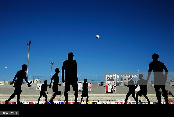 The Japanese Football team in action during the training session ahead of the World Cup qualifier against Jordan at King Abdullah International...