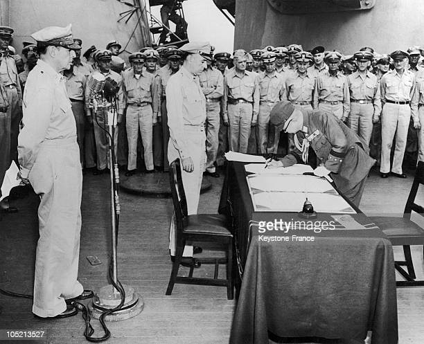The Japanese General Yoshijiro Umezu Signing The Surrender Of Japan On The Military Ship Ss Missouri In The Bay Of Tokyo On September 1 1945 US...