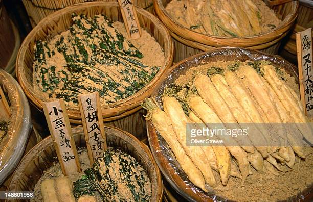 The Japanese have developed various methods of pickling vegetables, tsukemono (pickles) being an integral part of every meal- Nishiki-koji market, Kyoto, Japan