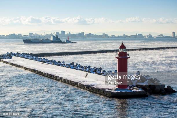 the japanese island of hokkaido hakodate port - land feature stock pictures, royalty-free photos & images