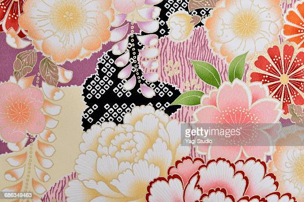 the japanese kimono, close up - japanese culture stock pictures, royalty-free photos & images