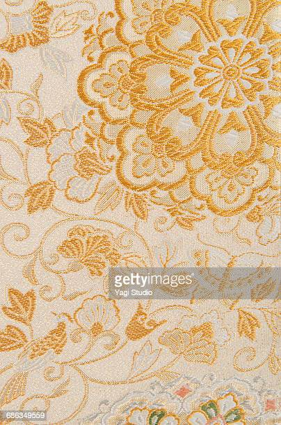 the japanese kimono, close up - embroidery stock pictures, royalty-free photos & images