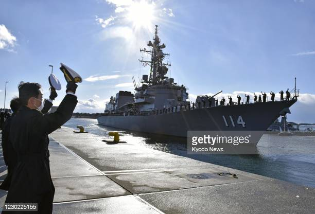 The Japanese Maritime Self-Defense Force destroyer Suzunami leaves the Ominato base in Mutsu, Aomori Prefecture, northeastern Japan, for the Middle...