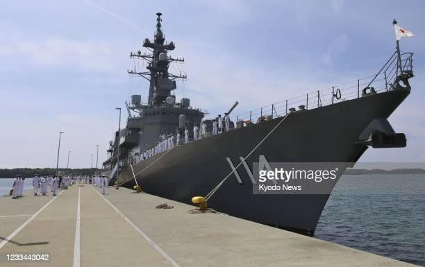 The Japanese Maritime Self-Defense Force destroyer Suzunami returns to the Ominato base in Mutsu in Aomori Prefecture, northeastern Japan, on June 14...