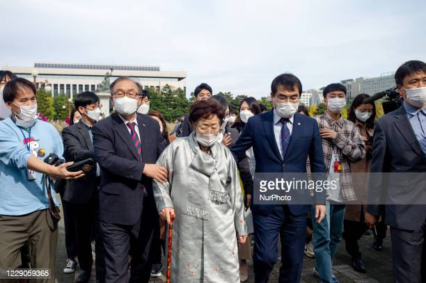 The Japanese military comfort women victim, Lee Yong-soo leaves after the press conference at the Yeouido National Assembly in Seoul, South Korea on...