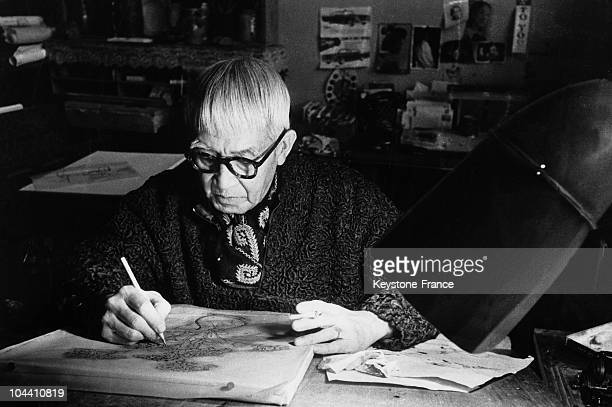 The Japanese painter Leonard FUJITA in his studio in Montparnasse Paris where he worked for the exhibition he was organising in Paris